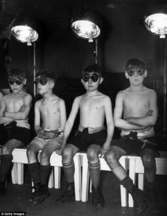 Children undergoing sunray treatment at Manchester's Open Air School for Delicate Children on March 16, 1939 Read more: http://www.dailymail.co.uk/femail/article-2635599/For-years-doctors-prescribed-sore-throats-childhood-acne-How-sunray-therapy-ultra-violet-lamps-generation-risk-cancer.html#ixzz4fZ4fguFU Follow us: @MailOnline on Twitter | DailyMail on Facebook