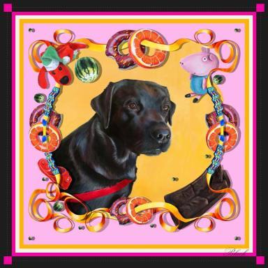 personal pet portrait scarf, painted by Machteld Schouten