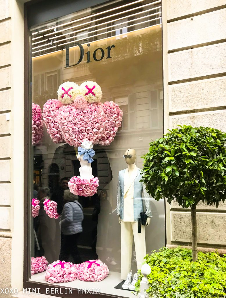 Kaws in flowers at Dior