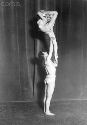 March 1925 --- Acrobatic dancers Berinoff and Eulalia perform a dance. --- Image by © Hulton-Deutsch Collection/CORBIS