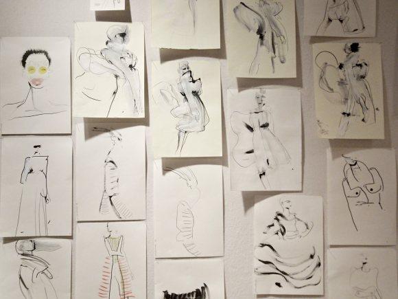 Drawings by Petra Lunenburg at Mercedes-BenzAmsterdamFashionweek