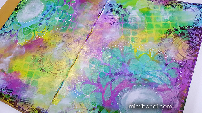 Little Clouds art journal tutorial mixed media with Mimi Bondi