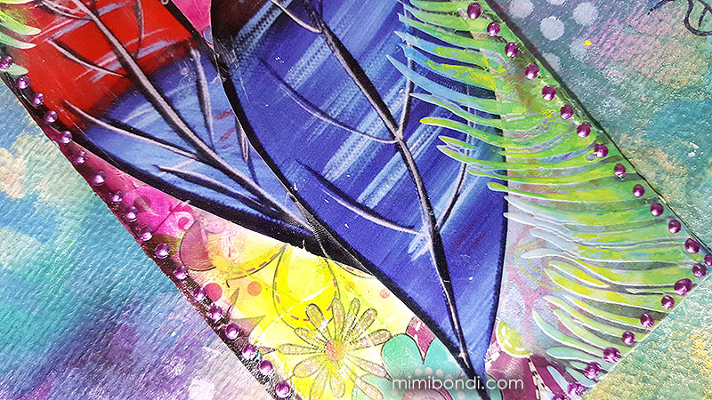 Mixed media art tag with collage and gelatos by Mimi Bondi