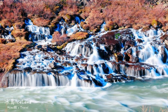 【冰島景點】絕美的熔岩瀑布Hraunfossar & 奔放的小孩瀑布Barnafossar