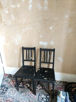 Ikea chairs used as step ladders!