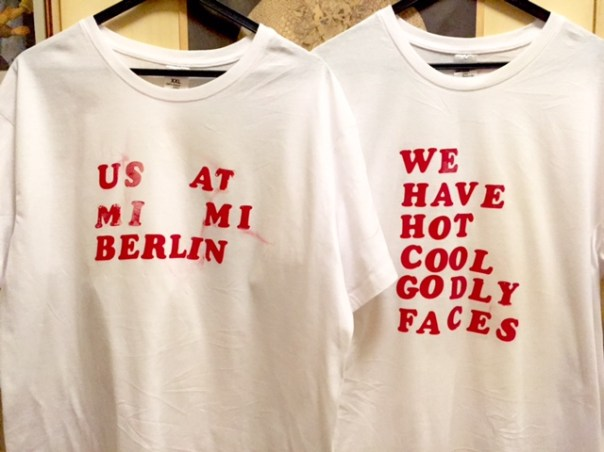 Mimi Berlin Twin T-Shirts.left tee: us at mimi berlinright tee: we have hot cool goddly faces