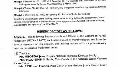 Photo of FECAKARATE: Executive president Wakam Emmanuel and others suspended.