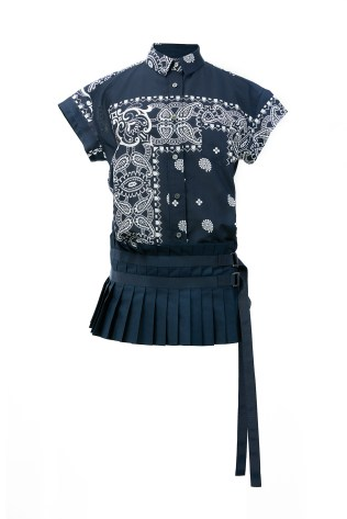 HK$3,400_navy bandana shirt with pleats