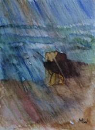 Emotional growth, 15x10cm in A4 cardboard passepartout, watercolor on paper, SEK 1500,00