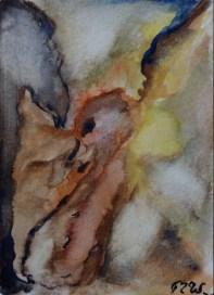 Fleeing, 15x10cm in A4 cardboard passepartout, watercolor on paper, SEK 1500,00