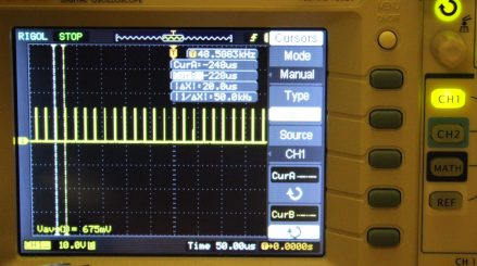 Showing the output PWM signal on the o-scope