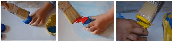 Pintar los tapones de color azul, rojo y amarillo