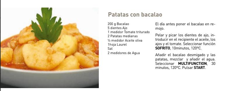 PATATAS CON BACALAO Taurus Master Cousine - 4 Recetas para torpes saludables