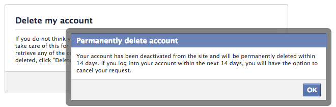 Facebook delete account