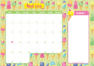 Calendrier aout 2016 avec to do list