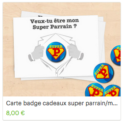 Carte badge super parrain super marraine