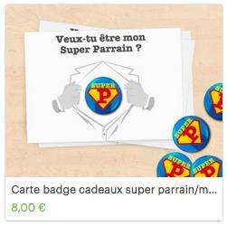 Carte badge super parrain super marraine