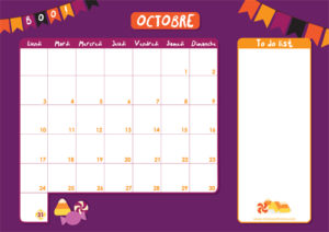 Calendrier d'Octobre 2016 avec to do list à télécharger