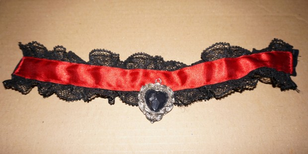 Lace and satin choker with a black heart