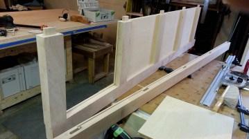 Dry assembling the side panels.