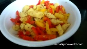 Bell pepper and baby corn salad