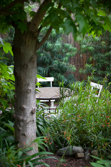 From dangerous structure to secluded seating area for dining or entertaining