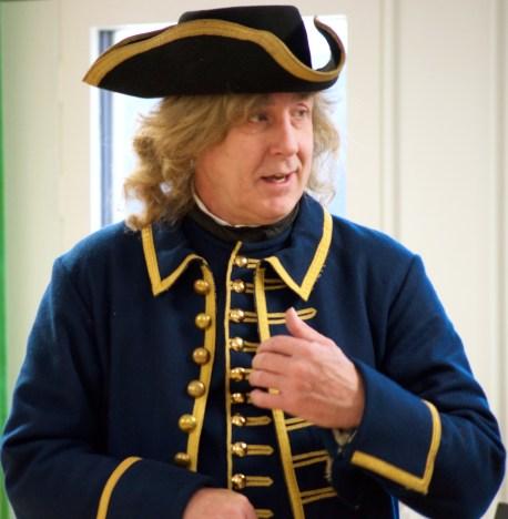 Ordföranden för Kongliga Elfsborgs regementes Karoliner föreställde kapten och Baron von Saltza