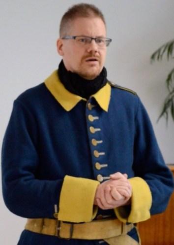 Mattias föreläste om sin anfader Jonas Spak som dog under kriget mot Danmark 1808-1809 och om Abraham Sahlgrén som skadades vid Passewalk den 3 oktober 1760