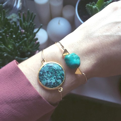 Bracelet jonc et turquoise Pray for the sunshine