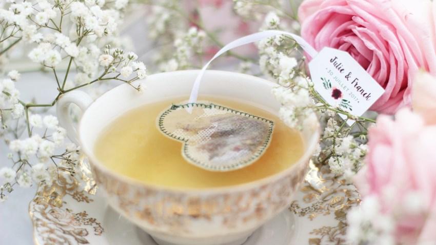 sachet de thé cœur cadeau invités mariage