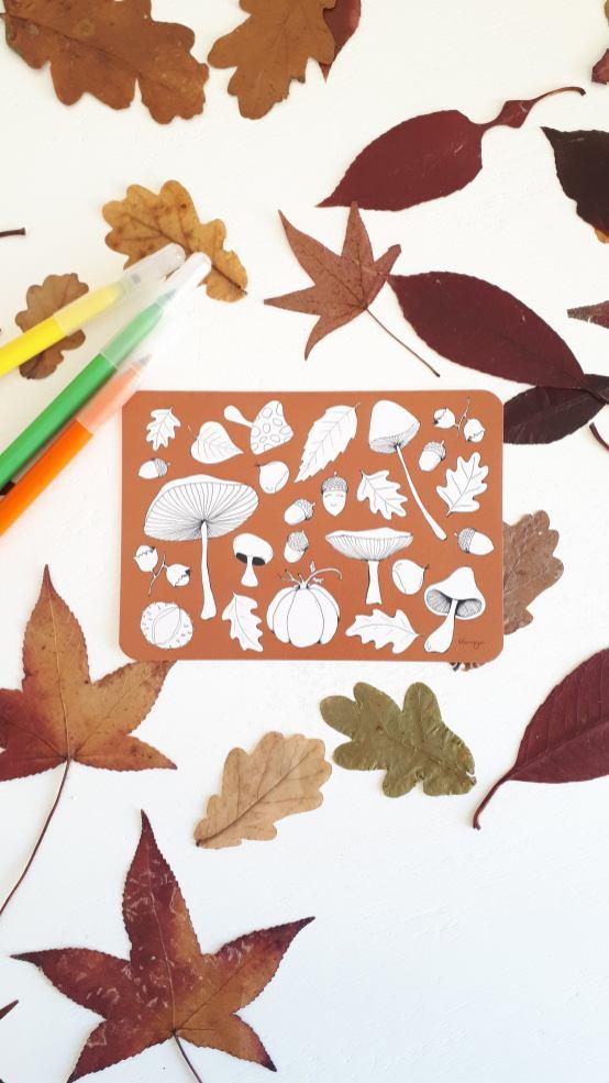 carte à colorier champignons