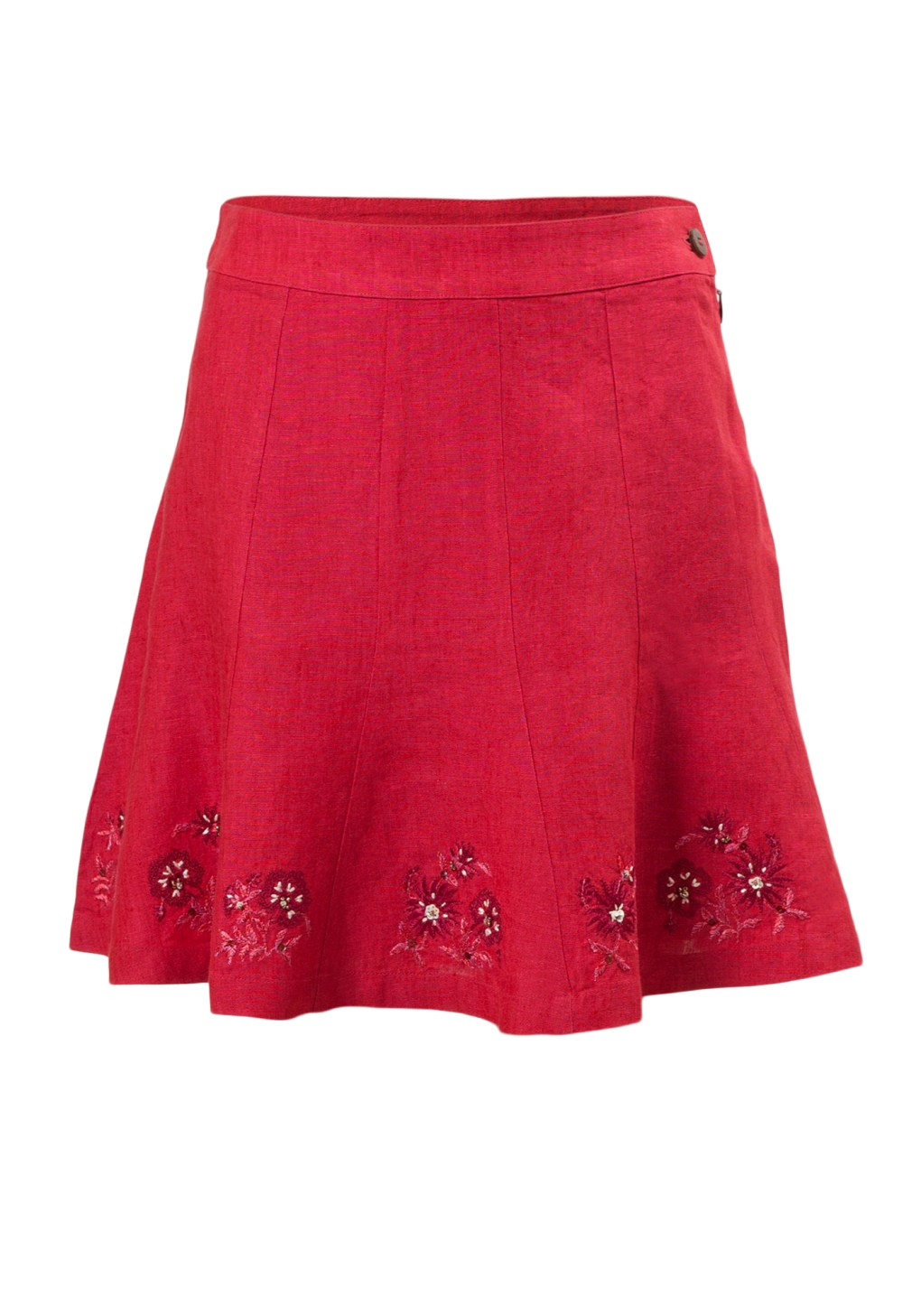 Raspberry Ice Girls Skirt in Fuchsia Linen with embroidery along hemline brought to you by MINC petite