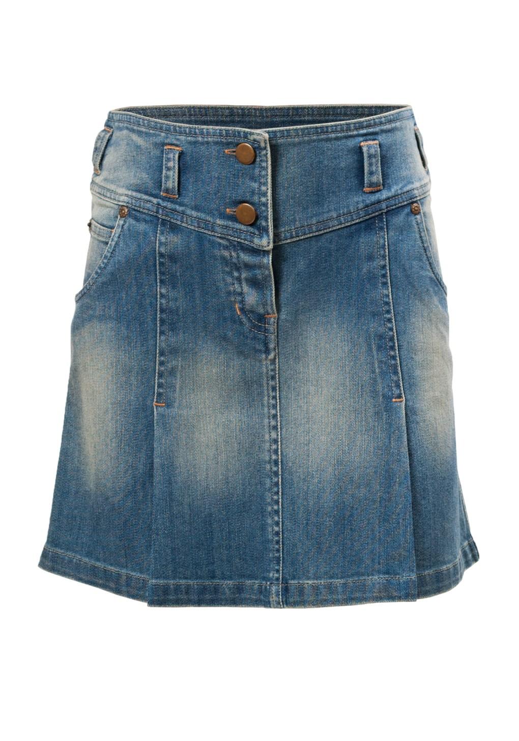 Arizona Falls Knee Length Girls Skirt in Blue Denim