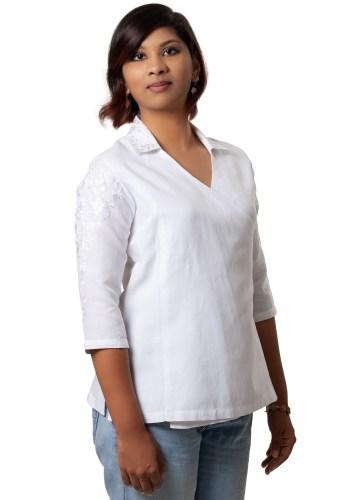 White Embroidered Asymmetric Linen Shirt
