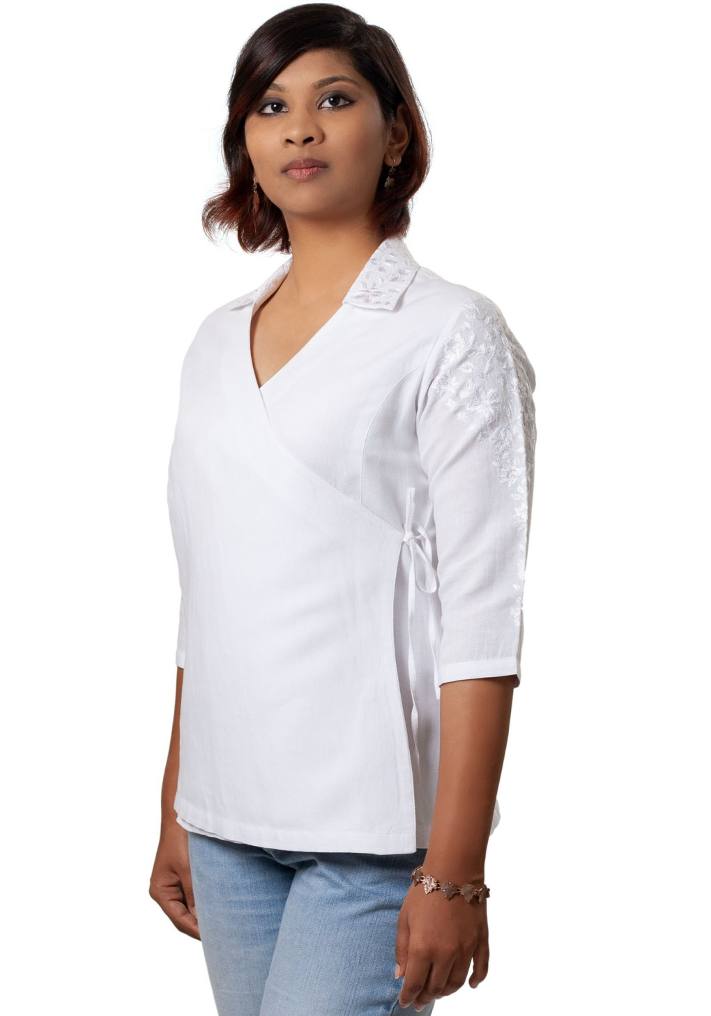 White Embroidered Asymmetric Linen Shirt