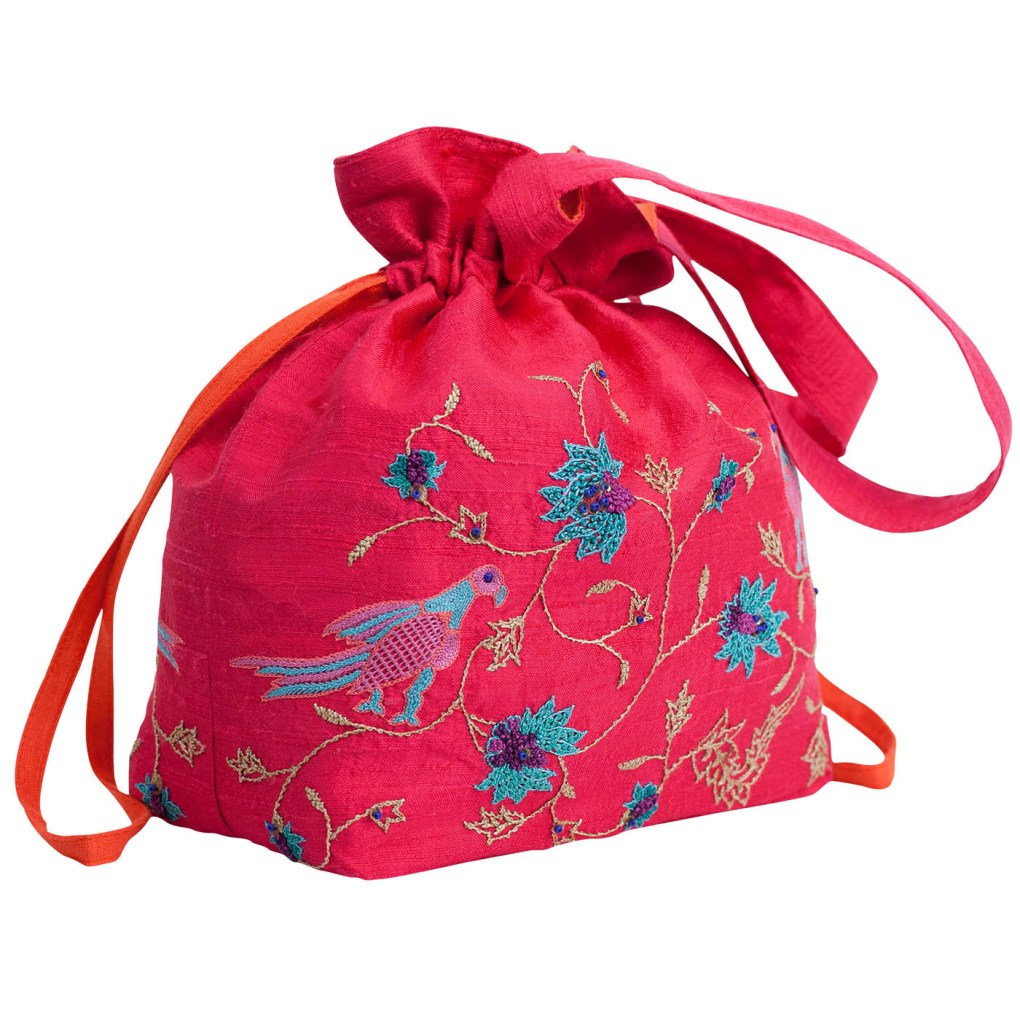 MINC Accessory Embroidered Silk Potli Bag in Fuchsia