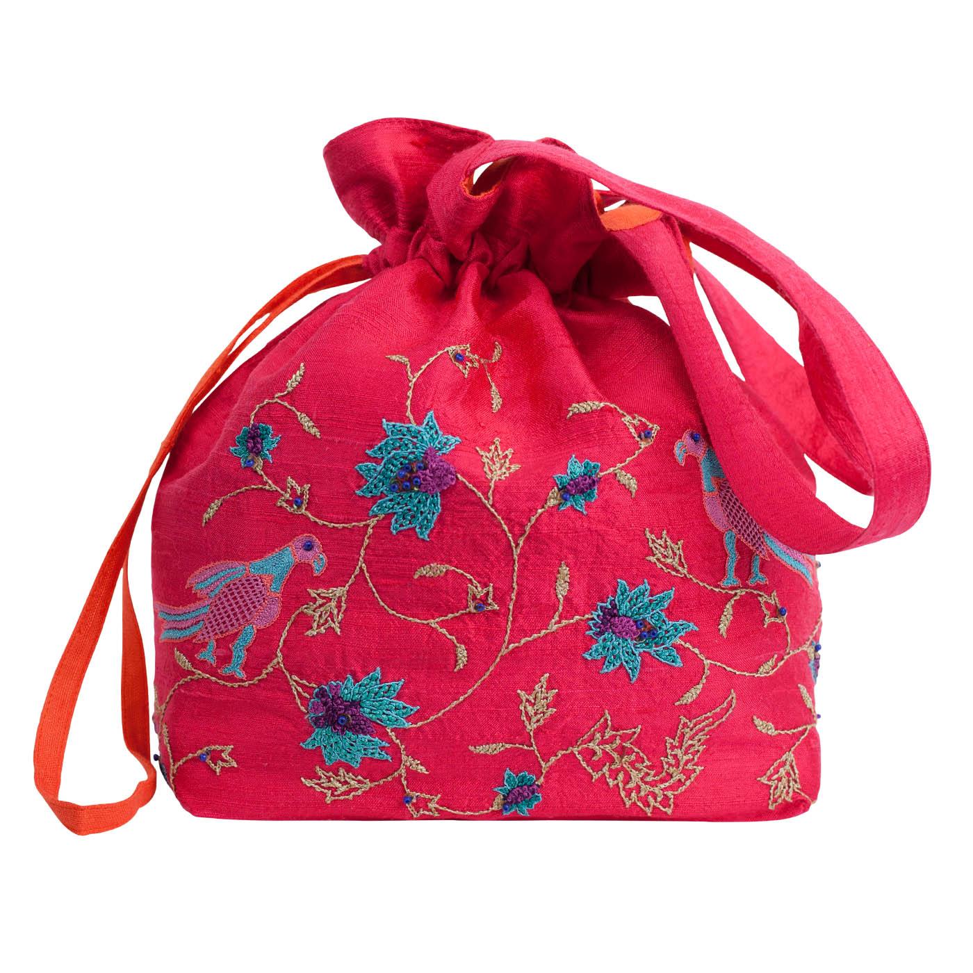 MINC Couture Embroidered Silk Potli Bag in Fuchsia