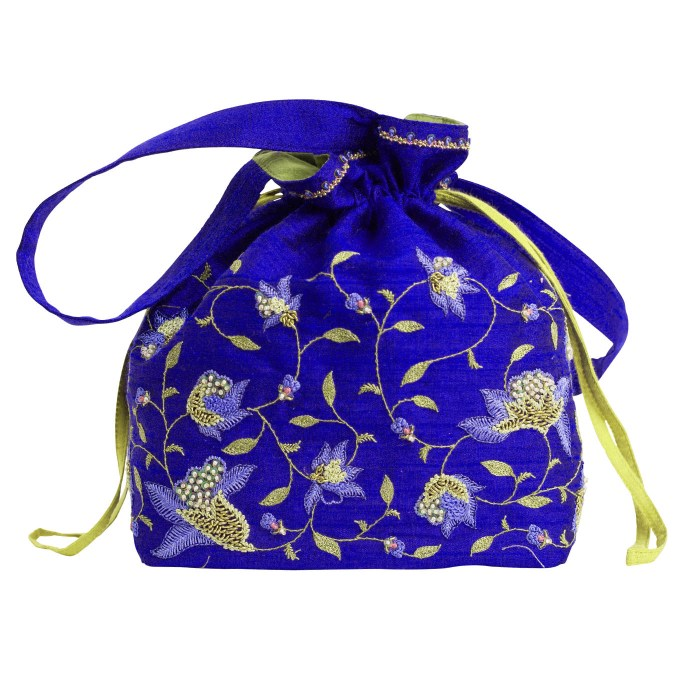MINC Couture Embroidered Silk Potli Bag in Topaz Blue