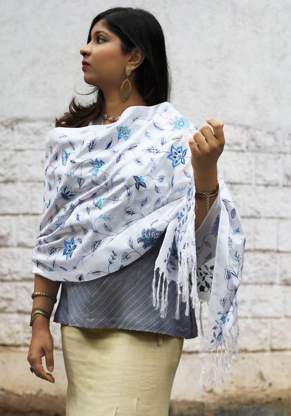 MINC couture Delphinium Embroidered Scarf in White Silk