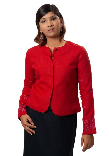 MINC Classic Embroidered Jacket in Ruby Red Linen