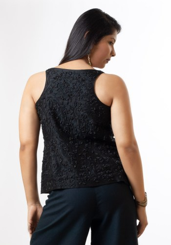 MINC couture fashion brand Hand Embroidered Black Beaded Silk Top