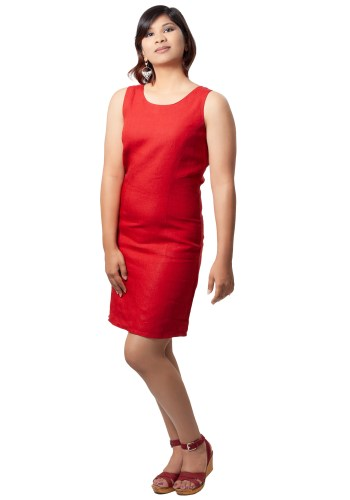 MINC ecofriendly couture Stephanie Short Dress In Bright Red Linen