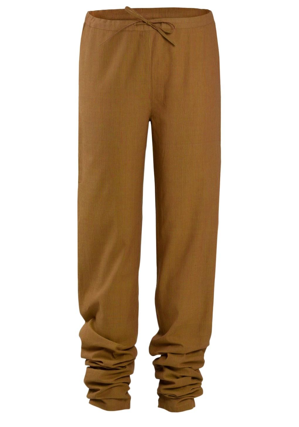 MINC Yellow & Red Striped Handloom Cotton Drawstring Pants