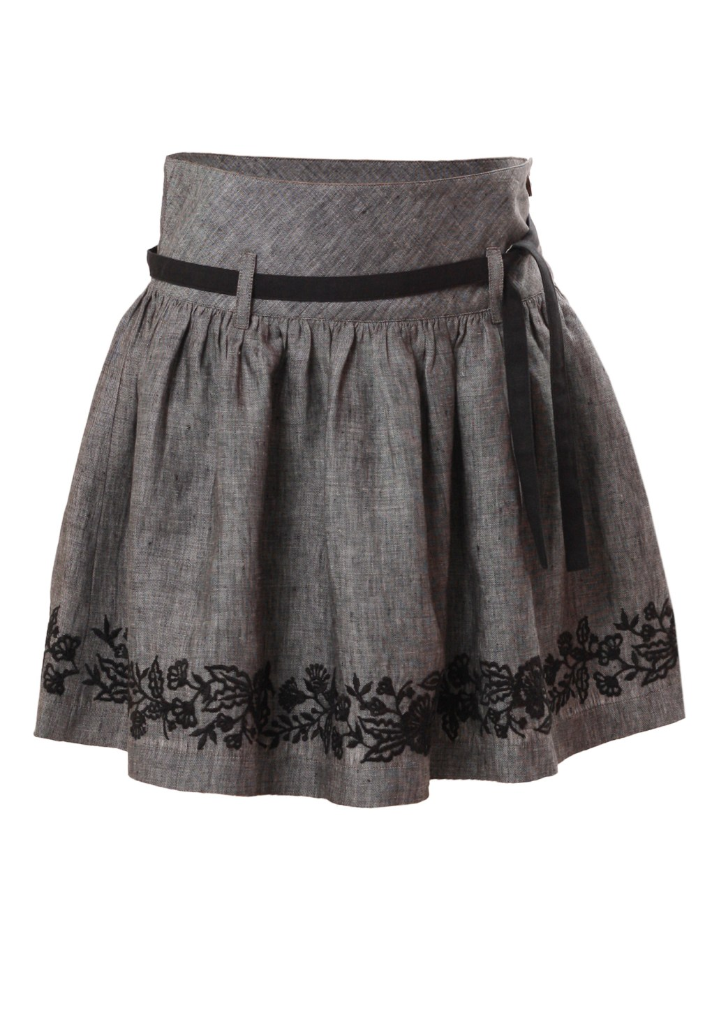 MINC Petite Embroidered Girls Classic Skirt in Grey Linen