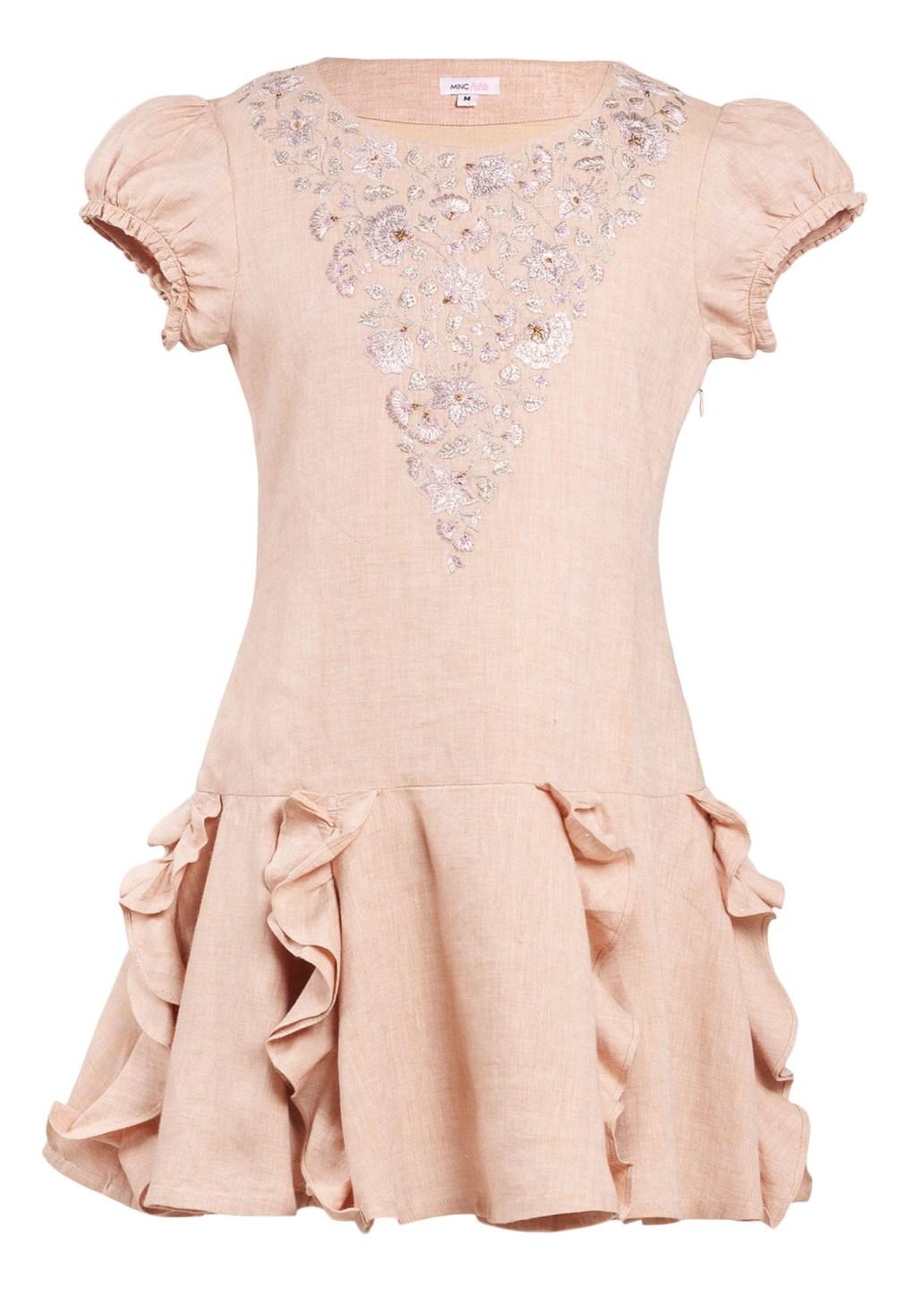 MINC Petite Preppy Girls Embroidered Dress in Dune Beige Linen