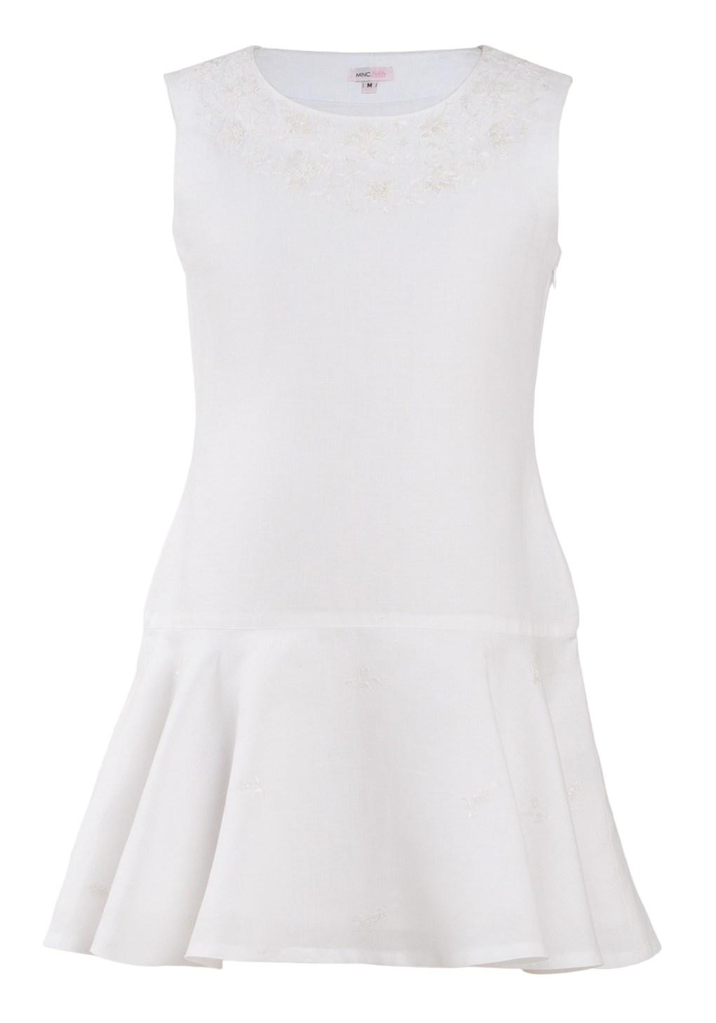 MINC Petite Preppy Girls Embroidered Dress in White Cotton Linen