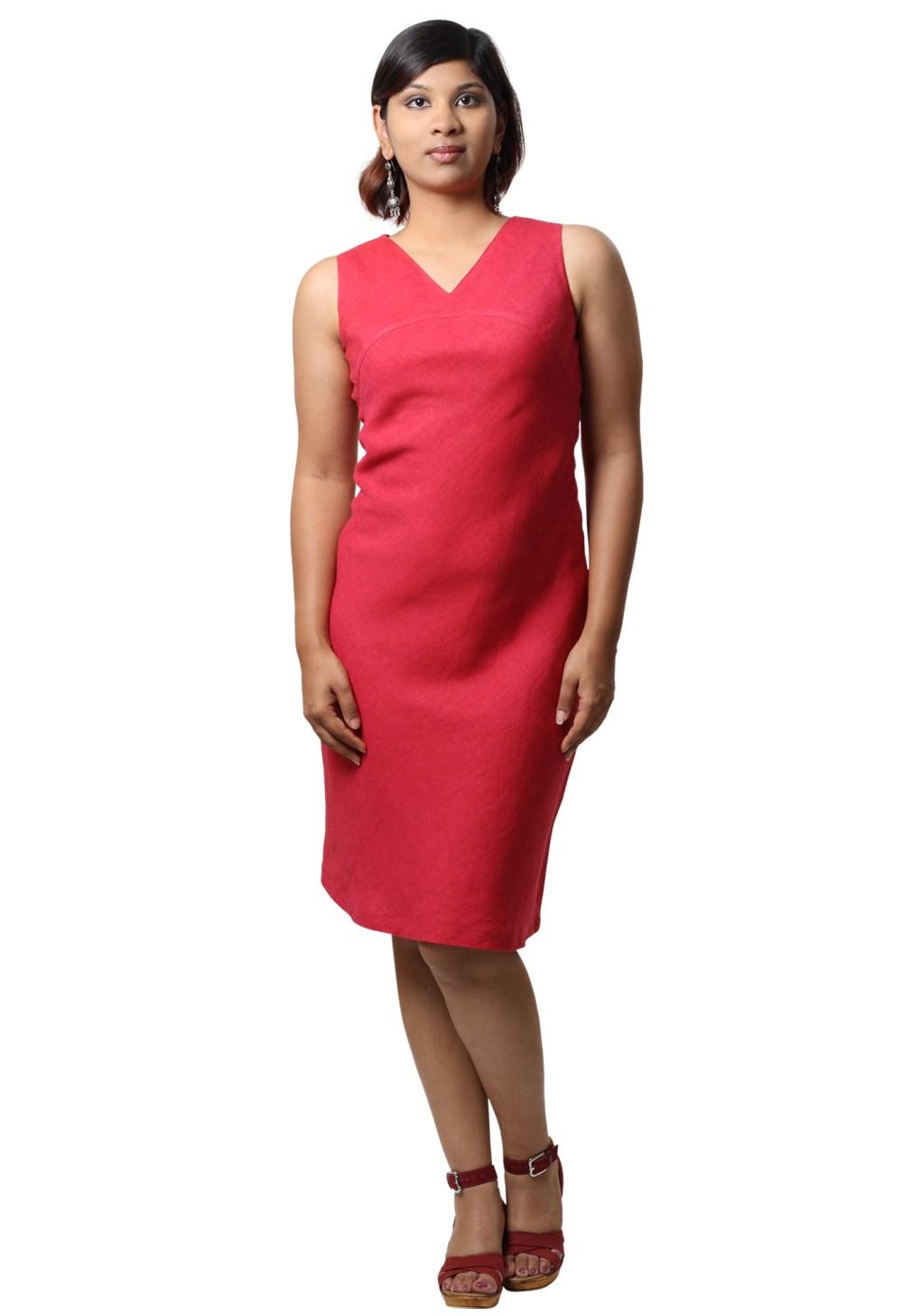 MINC Pamela Short Dress In Fuchsia Linen