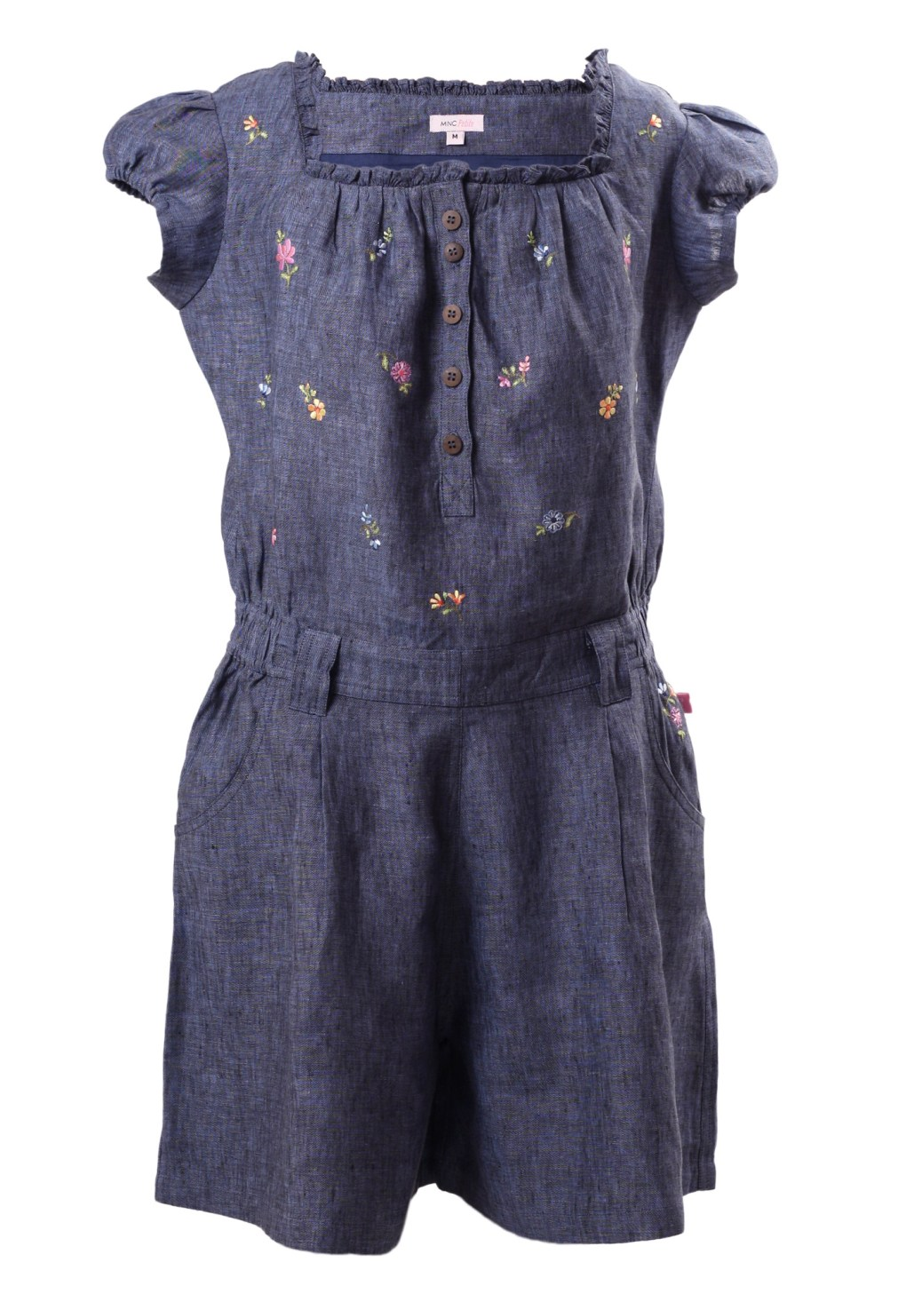 MINC Petite Bluebell Girls Embroidered Jumpsuit in Dark Blue Linen