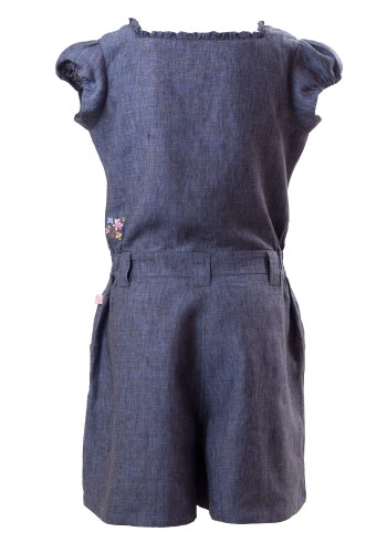 MINC Petite Bluebell Girls Embroidered Jumpsuit in Deep Blue Linen