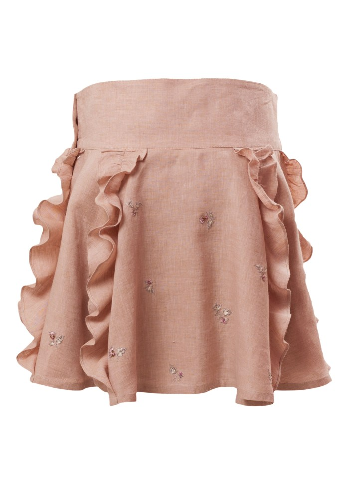 MINC Petite Frosted Almond Embroidered Girls Skirt in Beige Linen